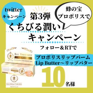 蜂の宝本舗 twitter プレゼント キャンペーン 潤い プレゼント リップバター リップバーム プロポリス